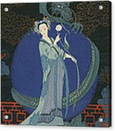 Lady With A Dragon Acrylic Print by Georges Barbier