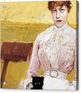 Lady With Black Kitten Acrylic Print by Giuseppe De Nittis