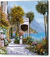 Lake Como-la Passeggiata Al Lago Acrylic Print by Guido Borelli