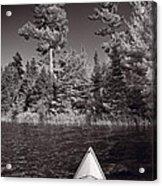 Lake Kayaking Bw Acrylic Print by Steve Gadomski