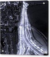 Lake Shore Drive Aerial  B And  W Acrylic Print by Steve Gadomski