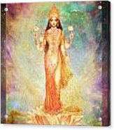 Lakshmi Floating In A Galaxy Acrylic Print by Ananda Vdovic