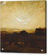 Landscape At Sunset Acrylic Print by Marie Auguste Emile Rene Menard