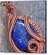 Lapis Lazuli And Copper Sculpted Coil Pendant Acrylic Print by Heather Jordan