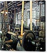 Large Lathe In Machine Shop Acrylic Print by Susan Savad