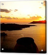 Late Sunset Santorini  Island Greece Acrylic Print by Colette V Hera  Guggenheim