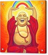 Laughing Rainbow Buddha Acrylic Print by Sue Halstenberg