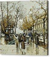 Le Quai De Louvre Paris Acrylic Print by Eugene Galien-Laloue