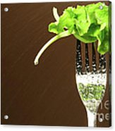 Leaf Of Lettuce On A Fork Acrylic Print by Sandra Cunningham