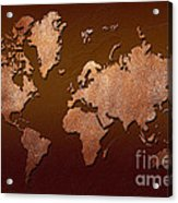Leather World Map Acrylic Print by Zaira Dzhaubaeva