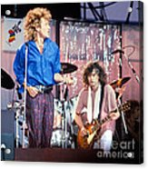 Led Zeppelin Page And Plant Live Aid 1985 Acrylic Print by Chuck Spang