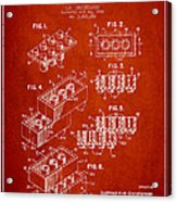 Lego Toy Building Brick Patent - Red Acrylic Print by Aged Pixel