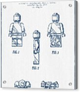 Lego Toy Figure Patent - Blue Ink Acrylic Print by Aged Pixel