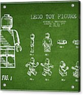 Lego Toy Figure Patent Drawing From 1979 - Green Acrylic Print by Aged Pixel