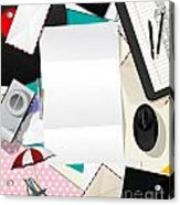 Letter Collage Abstract Acrylic Print by Richard Laschon