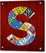 Letter S Alphabet Vintage License Plate Art Acrylic Print by Design Turnpike