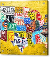 License Plate Art Map Of The United States On Yellow Board Acrylic Print by Design Turnpike