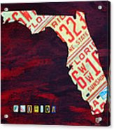 License Plate Map Of Florida By Design Turnpike Acrylic Print by Design Turnpike