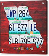 License Plate Map Of Missouri - Show Me State - By Design Turnpike Acrylic Print by Design Turnpike