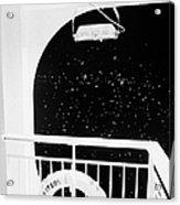 lifebelt on board the hurtigruten ship ms midnatsol at night in winter in Tromso troms Norway europe Acrylic Print by Joe Fox