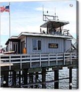 Lifeguard Headquarters On The Municipal Wharf At Santa Cruz Beach Boardwalk California 5d23827 Acrylic Print by Wingsdomain Art and Photography