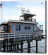 Lifeguard Headquarters On The Municipal Wharf At Santa Cruz Beach Boardwalk California 5d23828 Acrylic Print by Wingsdomain Art and Photography