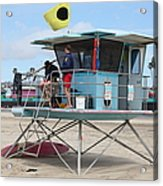 Lifeguard Shack At The Santa Cruz Beach Boardwalk California 5d23712 Acrylic Print by Wingsdomain Art and Photography