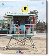 Lifeguard Shack At The Santa Cruz Beach Boardwalk California 5d23713 Acrylic Print by Wingsdomain Art and Photography
