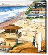 Lifeguard Station At Moonlight Beach Acrylic Print by Mary Helmreich
