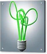 Light Bulb Green Energy Flourescent Acrylic Print by Allan Swart