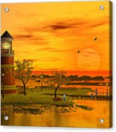 Lighthouse At Sunset Acrylic Print by John Junek