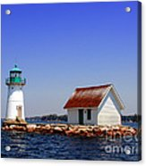 Lighthouse On The St Lawrence River Acrylic Print by Olivier Le Queinec