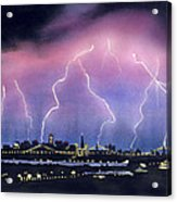 Lightning On The Bay Bridge Acrylic Print by Janaka Ruiz