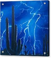 Lightning  Over The Sonoran Acrylic Print by Sharon Duguay