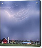 Lightning Storm And The Big Red Barn Acrylic Print by James BO  Insogna