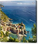 Ligurian Coast View At Vernazza Acrylic Print by George Oze