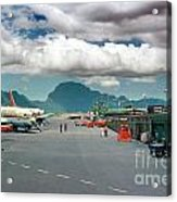 Lihue Airport With Cumulus Clouds In Kauai Hawaii  Acrylic Print by Wernher Krutein