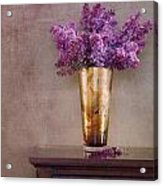 Lilacs In Vase 1 Acrylic Print by Rebecca Cozart