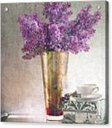 Lilacs In Vase 2 Acrylic Print by Rebecca Cozart