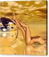 Liquid Gold Acrylic Print by Sandra Bauser Digital Art
