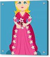Little Cartoon Princess With Flowers Acrylic Print by Sylvie Bouchard