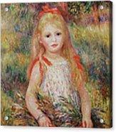 Little Girl Carrying Flowers Acrylic Print by Pierre Auguste Renoir