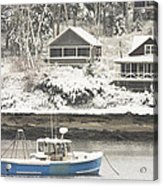 Lobster Boat After Snowstorm In Tenants Harbor Maine Acrylic Print by Keith Webber Jr