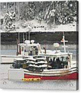 Lobster Boats After Snowstorm In Tenants Harbor Maine Acrylic Print by Keith Webber Jr