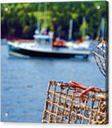 Lobster Trap In Maine Acrylic Print by Olivier Le Queinec