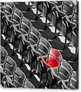 Lone Red Number 21 Fenway Park Bw Acrylic Print by Susan Candelario