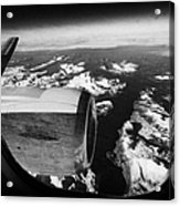 Looking Out Of Aircraft Window Over Snow Covered Fjords And Coastline Of Norway Europe Acrylic Print by Joe Fox