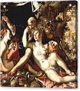 Lot And His Daughters Acrylic Print by Joachim Antonisz Wtewael