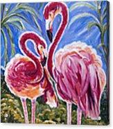 Love Flamingos  Acrylic Print by Yelena Rubin