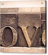 Love In Printing Blocks Acrylic Print by Jane Rix